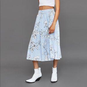 Zara flora print midi skirt